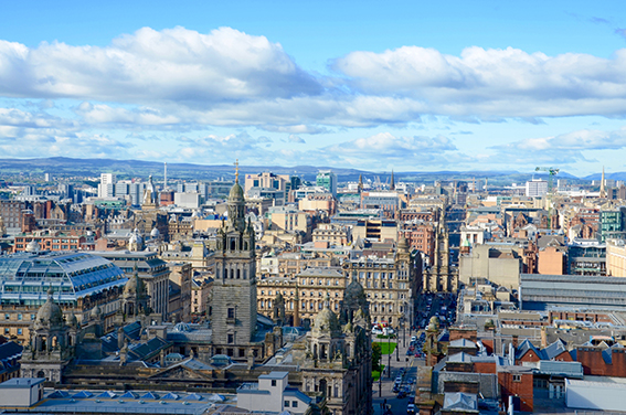 The skyline of Glasgow city centre looking towards George Square